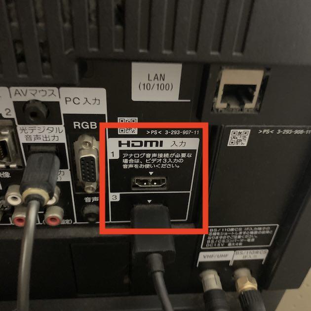 テレビ裏のHDMI端子
